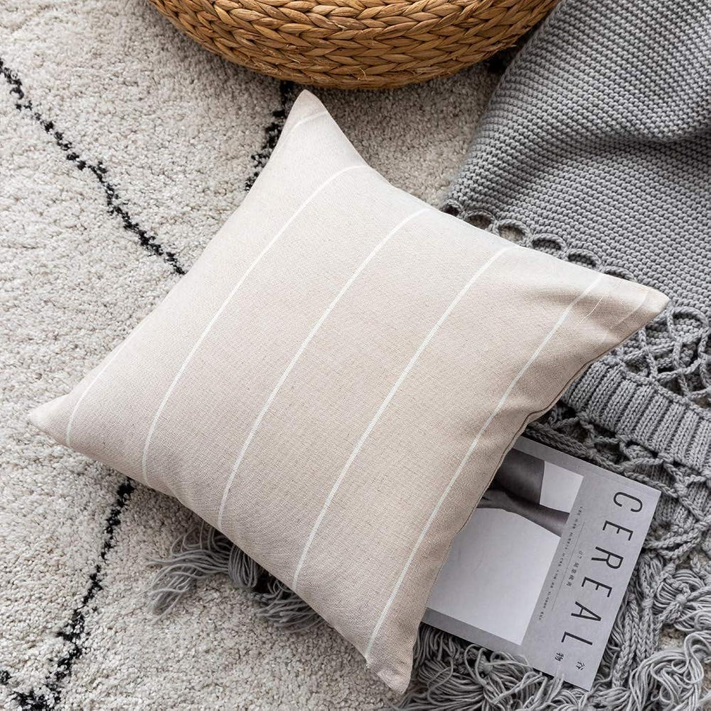 ランデブー責める複雑なクッションカバー45 * 45 cmの正方形のソファーの背中北欧のシンプルなコットンとリネンのファッション装飾的なストライプの枕カバーブラウン1枚