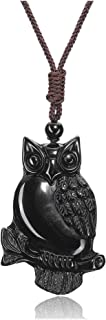 Top Plaza Men Women Owl Gifts Pendant Necklace Amulet Talisman Protection Pendant Necklace Natural Obsidian Healing Crysta...