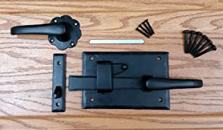 Heavy Duty Cottage Gate Latch Kit with Lever for Doors or Gates, Black, Left Hand