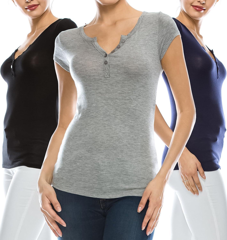 Coul J Women's Basic Short Sleeve Button Placket Henley TShirt