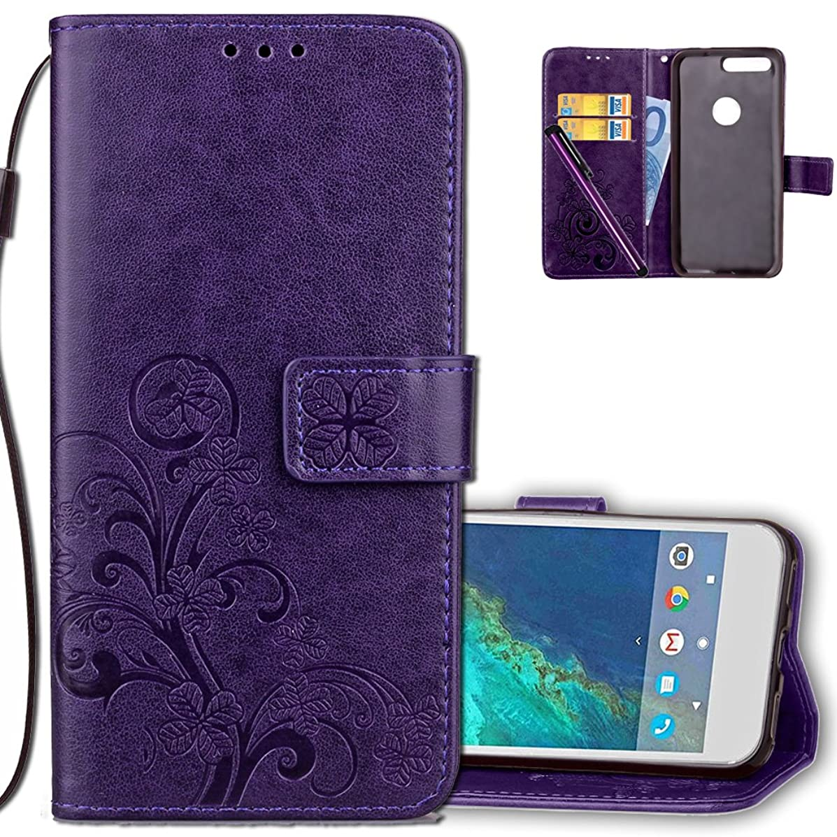 Google Pixel Wallet Case Leather COTDINFORCA Premium PU Embossed Design Magnetic Closure Protective Cover with Card Slots for Google Pixel (2016). Luck Clover Purple