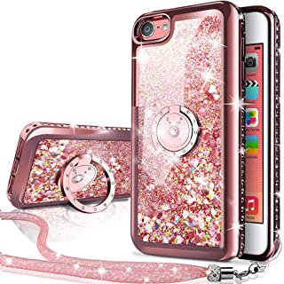 iPhone 4S Case,iPhone 4 Case, Silverback Moving Liquid Holographic Sparkle Glitter Case with Kickstand, Bling Diamond Rhinestone Bumper with Ring Protective Apple iPhone 4S Case for Girls Women