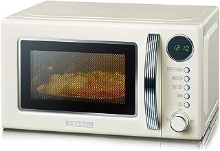 SEVERIN Four Micro-ondes, Gril, 20 L, jusqu'à 1 000W, 5 niveaux de puissance, Affichage numérique, Design rétro, Crème, MW...