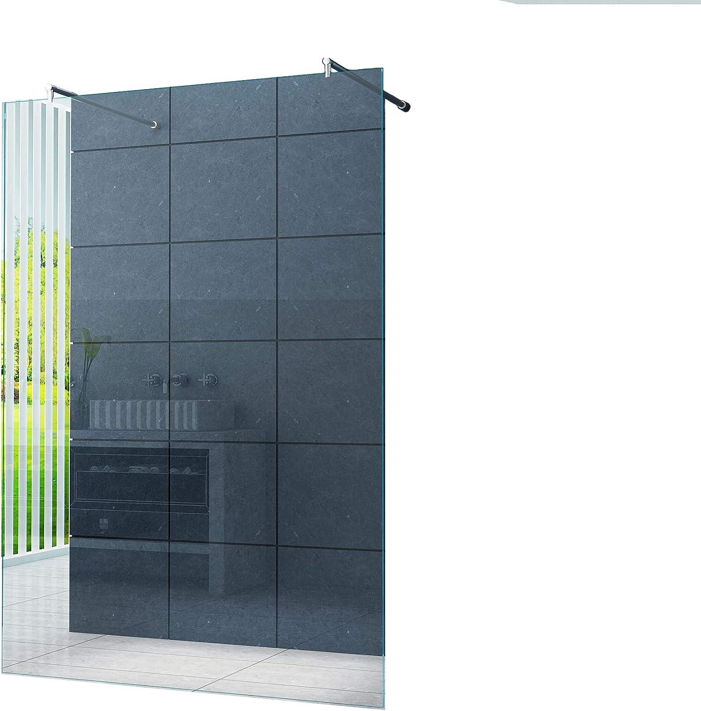 Freistehende 10 mm Duschabtrennung Düsseldorf 100 x 200 cm Klarglas Walk-In Duschtrennwand Duschwand Dusche Runde Haltestange