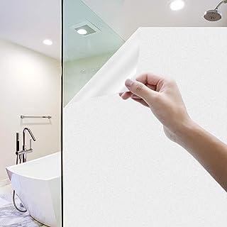 Rhodesy Milchglasfolie Selbstklebend Fenster, Homegoo Fensterfolie Selbsthaftend Blickdicht Statisch Haftende Undurchsichtige Fensterfolie für das Badezimmer zu Hause Büro Weiß, 44 x 200 cm