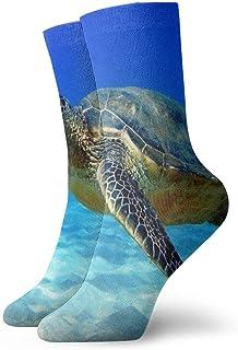 Calcetines de tripulación Tortuga Nadando en el Agua Calcetín atlético Elegante cojín Anti Olor Bota Corta Media