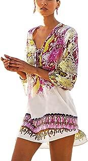 QIUYEJUO Womens Swimwear Cover-UPS Bikini Swim Beach Wear Cover up Dress