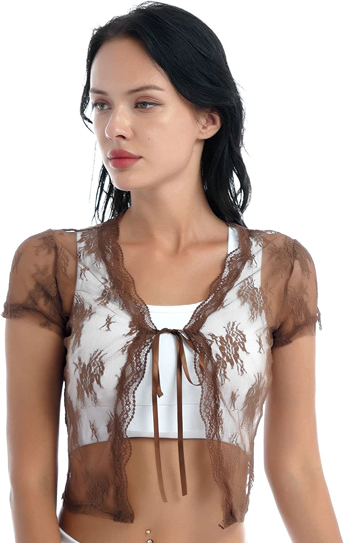 Moily Women's Short Sleeve Floral Lace Crop Top Chiffon Sheer Mesh Lace-up Shrug Bolero Cardigan