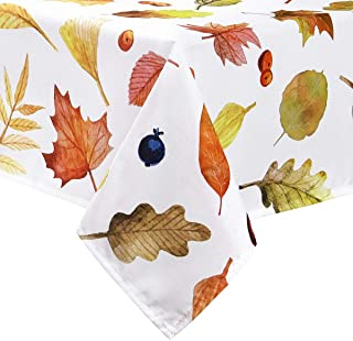 Sunm Boutique Table Cloth Autumn Leaves and Thanksgiving Tablecloth Waterproof Machine Washable Table Cover for Dinner Parties Holiday Thanksgiving Gift(Cream, 60 × 120 Inches)
