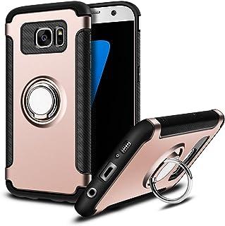 MaiJin Funda para Samsung Galaxy S7 (5.1 Pulgadas) Multifunción Anillo sostenedor movil de 360 Grados con función de Soporte Rugged Armor Cover Case (Oro Rosa)