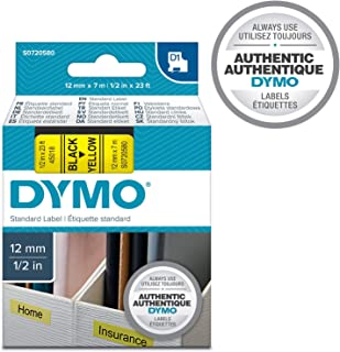 DYMO 45018 D1 Polyester Removable Label Tape, 1/2-Inch x 23 ft, Black on Yellow