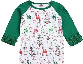 HAPPYMA Christmas Thanksgiving Toddler Kids Baby Girls Unicorn Pumpkin T-Shirt Long Sleeve Top Lace Sleeve Clothes Set