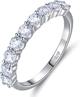 Wuziwen Sterling Silver Rings 2mm Round Cubic Zirconia CZ Eternity Engagement Wedding Band Ring