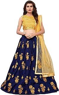 27138ca4c1 Rudra zone Women's Velvet & Net Semi Stitched Lehenga (RZF037, Neavy Blue,  Free