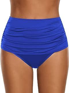 Women's High Waisted Swim Bottom Ruched Bikini Tankini Swimsuit Briefs