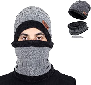 2-Pieces Winter Beanie Hat Scarf Set Warm Knit Hat Thick Fleece Lined Skull Cap for Men Women