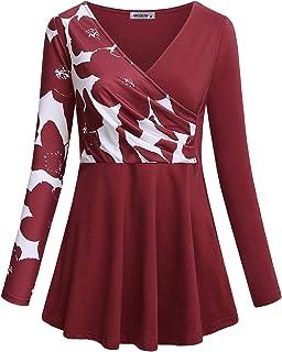 MOQIVGI Womens Tops V Neck Long Sleeve Floral Patchwork Surplice Tunic Blouses