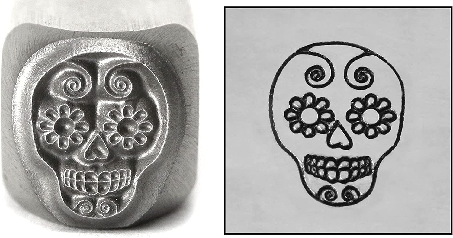 Sugar Skull Metal Jacksonville Mall Max 78% OFF Design Stamp 8mm Day Halloween The Dead of Pu