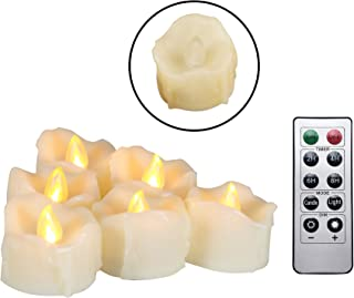 Flameless LED Tea Lights with Remote & Timer - Realistic Flickering Battery-operated Powered Electric Electronic Tealight ...