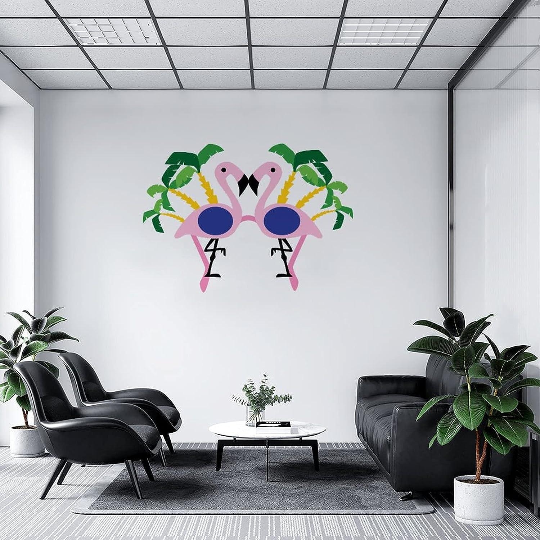 by Unbranded Pegatinas de pared para gafas de sol con palmera y flamenco, vinilo adhesivo para coches | Adhesivo de pared para decoración fresca de 35.5 pulgadas de ancho