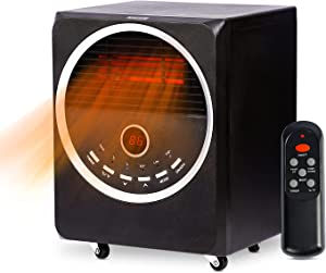 Sunday Living Infrared Space Heater, 1500W Electric Space Heater for Large Room, Portable Heater with 4 Wheels, 3 Heating Modes, Adjustable Thermostat , Remote Control, 12 Hour Timer, Child Lock, Tip-over Protection, Black
