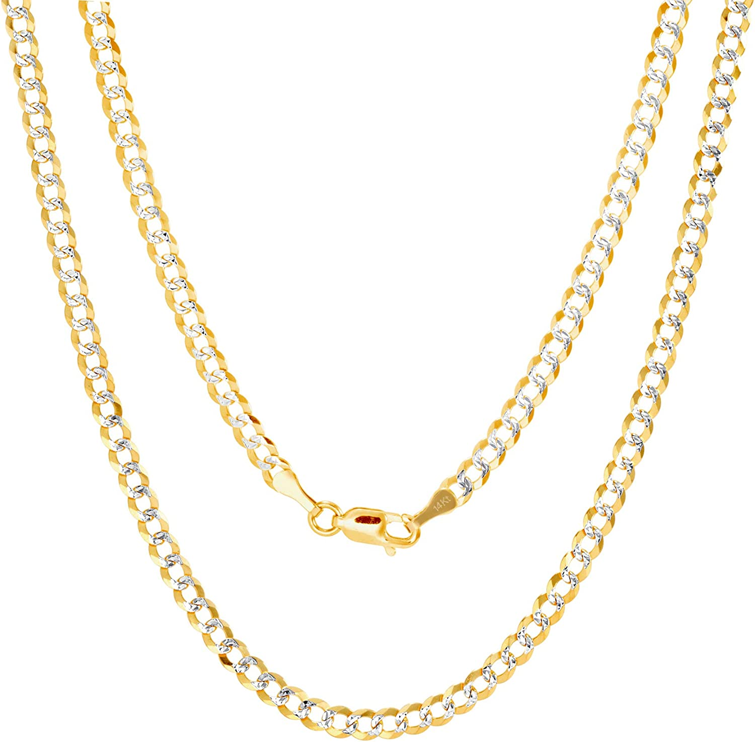 Nuragold 14k Yellow Gold Solid 4mm Cuban Chain Curb Link Diamond Cut Pave Two Tone Pendant Necklace, Mens Womens Lobster Lock 16
