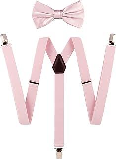 کراوات G ، ست کراوات تعلیق جامد مردانه جامد رنگ ، بریس قابل تنظیم ، گیره قوی ، چرم ، بند الاستیک. کراوات عروسی