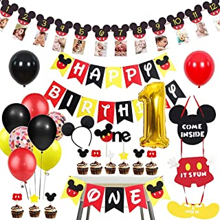 Danirora Mickey Mouse 1st Bithday Party Supplies for Kids, Mickey Mouse Party Decorations Mickey Mouse Themed Party Suppli...
