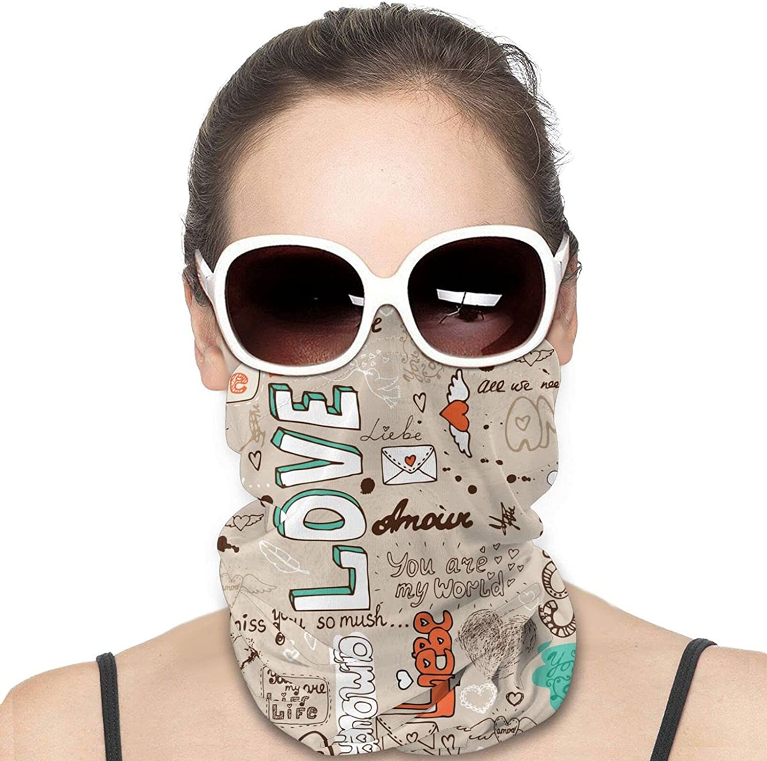 Seamless Love Letter Pattern Round Neck Gaiter Bandnas Face Cover Uv Protection Prevent bask in Ice Scarf Headbands Perfect for Motorcycle Cycling Running Festival Raves Outdoors