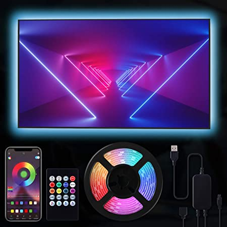 RIWNNI LED TV Retroilluminazione 2 metri, Smart Bluetooth Striscia LED RGB USB Alimentata, Controllo App e Telecomando, Impermeabile Strisce LED per a TV da 24-50 Pollici, PC Monitor e Camera da Letto