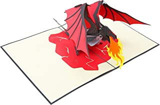 PopLife Fire Breathing Dragon 3D Pop Up Father's Day Card - Pop Up Happy Birthday Card, Congratulations, Get Well, Just Because - Mythical Animal, Fantasy Card, GoT, Magical Gift, LOTR - for Son, Dad