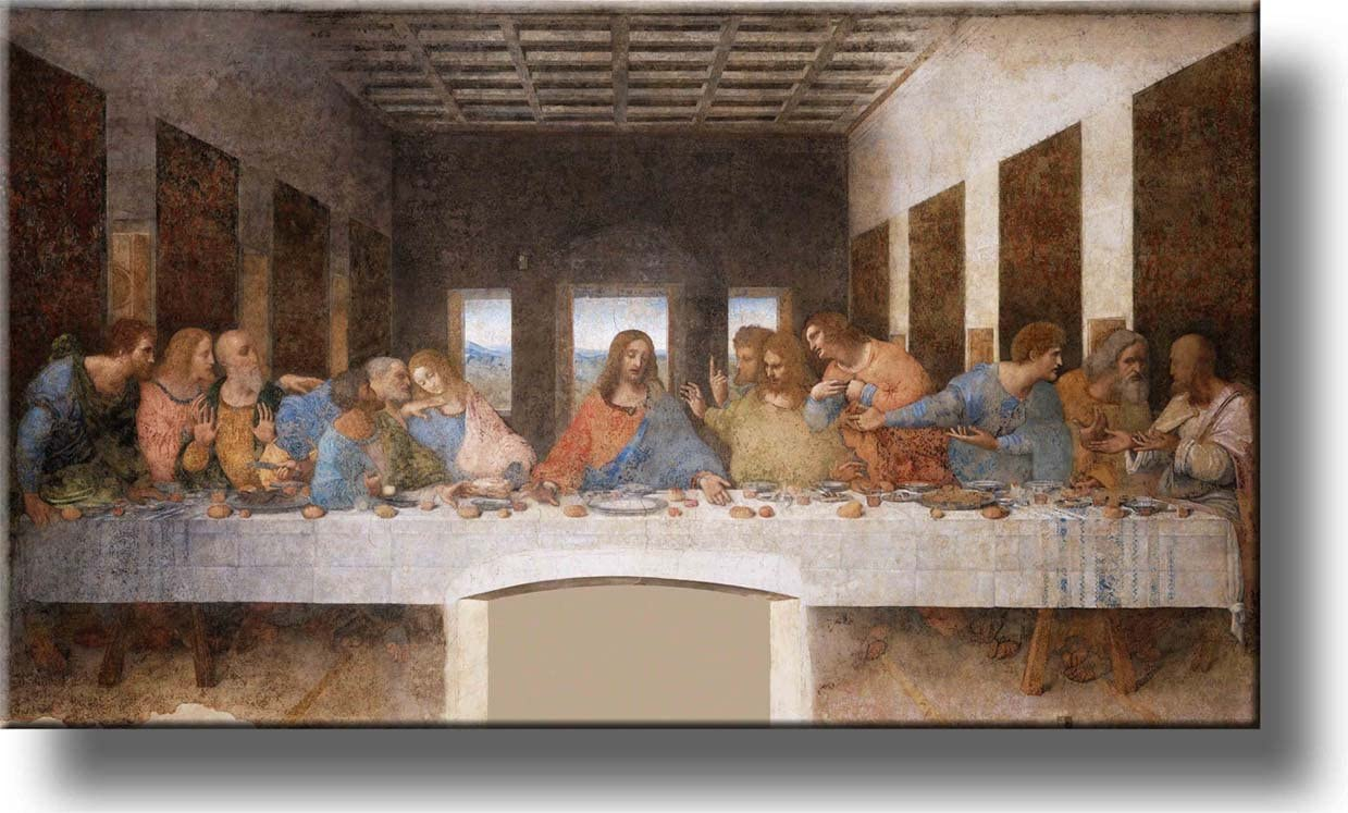 The Original Last Supper by Leonardo da Vinci Picture on Stretched Canvas, Wall Art Décor, Ready to Hang!