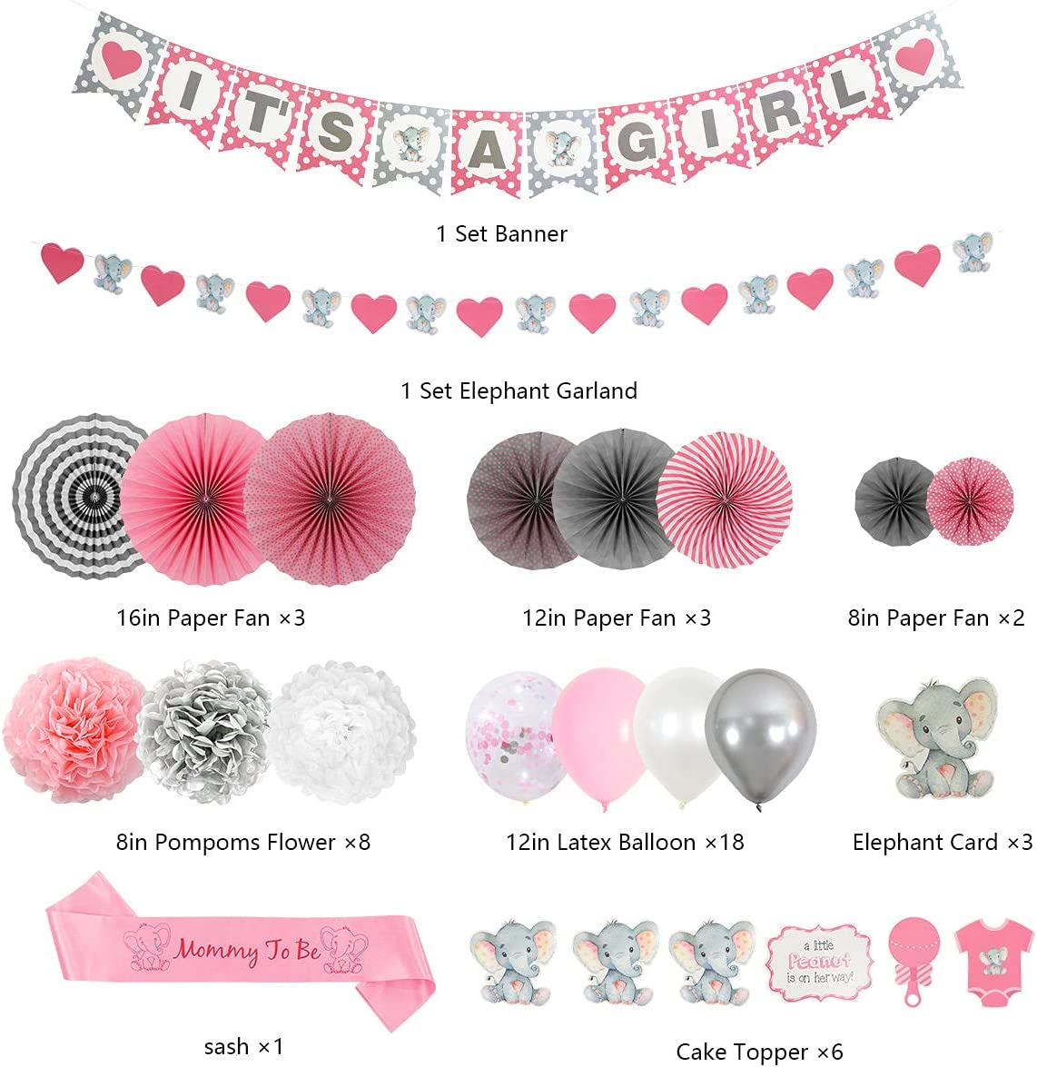 Elephant Baby Shower Decorations – It's a Girl Baby Shower in Pink and Gray  Theme – Cute Elephant Party Kit – Virtual Baby Shower Decorations – ...