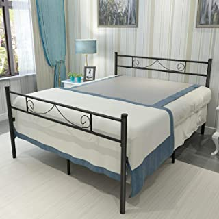 HAAGEEP Platform King Bed Frame With Headboard and Footboard 18 Inch Heavy Duty No Box Spring Needed Steel Bedframe Storage Black