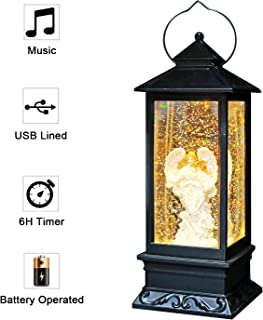 Eldnacele Musical Singing and Lighted Plug-in & Battery Operated Lighted Christmas Water Glittering Snowing Globe Christians Church Lantern for Home Decoration Angel