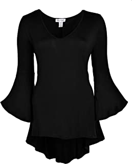 Women Plus Size High Low Bell Sleeve Gothic Blouse Tunic Top