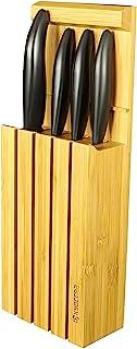 KYOCERA 14 c Juego pelar utilitario rebanador Santoku, Bloque bambú para 4 Cuchillos, Hoja cerámica de circonio, Afilada a...