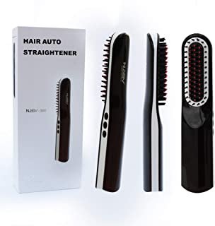 Beard Straightening Comb, 3 in 1 Cordless Hair Straightening Brush With Anti-Scald and Auto Shut Off Feature for Home & Travel, Multifuncional Ionic Straightener for Men and Women, Rechargeable