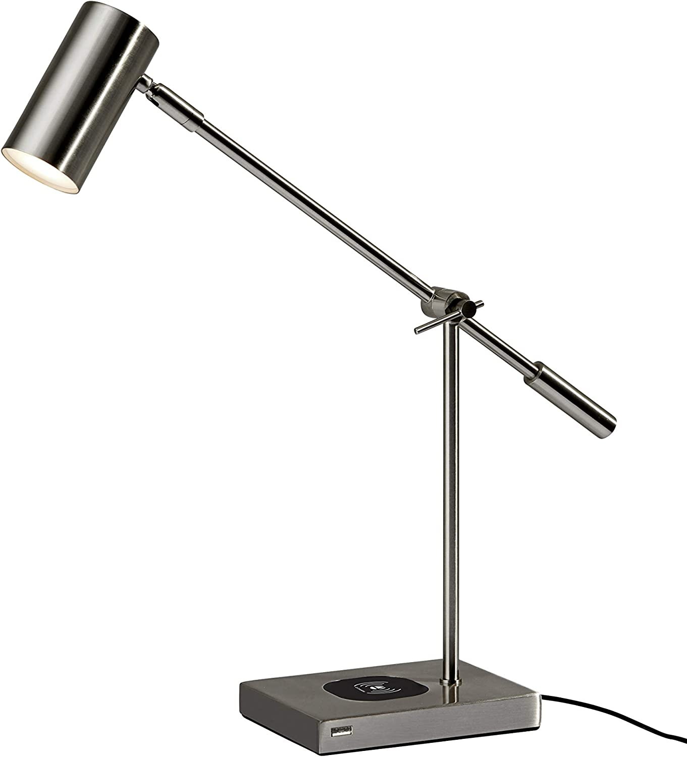 Adesso 4217-22 Collette?LED Desk Lamp Wireless?Charging, 7W LED, 5W QI,?USB Port, Indoor Lighting Lamps