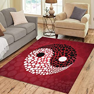 Semtomn Area Rug 5' X 7' Yin Abstract Symbol Ying Yang Asian Ball Black China Home Decor Collection Floor Rugs Carpet for Living Room Bedroom Dining Room