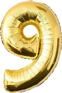 comprar comparacion Globo de lámina 9 dorado Número enorme 100 cm rellenable con helio o aero fiesta de cumpleaños