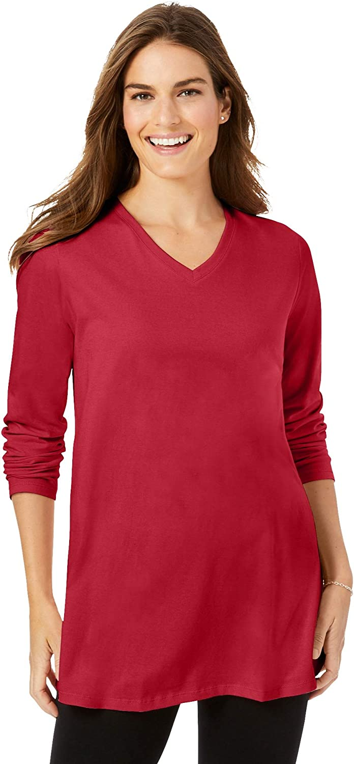 Woman Within Women's Plus Size Perfect Long Sleeve V-Neck Tunic