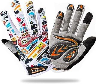Kids Bike Gloves Full Finger Padded Pair Protection Grip Boys Girls Cycling Tool