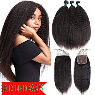 JiaYang Brazilian Kinky Straight Human Hair Bundles With Free Part 4X4 Lace Closure Yaki Human Hair Weave Unprocessed Brazilian Virgin Hair Natural Color (10'' 12'' 14''+10Closure)
