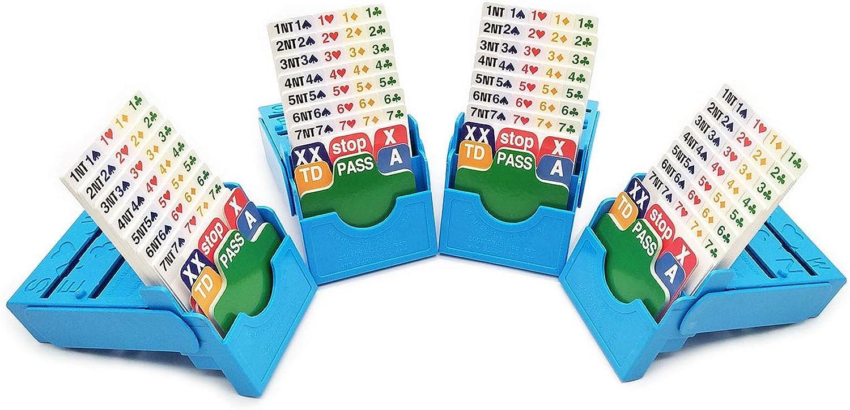 Bridge Bidding Boxes- Set of Four Premium Bridge Kit Bidding Device Paper Cards Light bluee