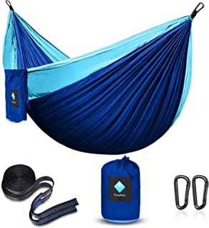 CozyHoliv Camping Hammock, Portable Parachute Hammocks for Outdoor Hiking Travel Backpacking - 210D Nylon Hammock Swing fo...
