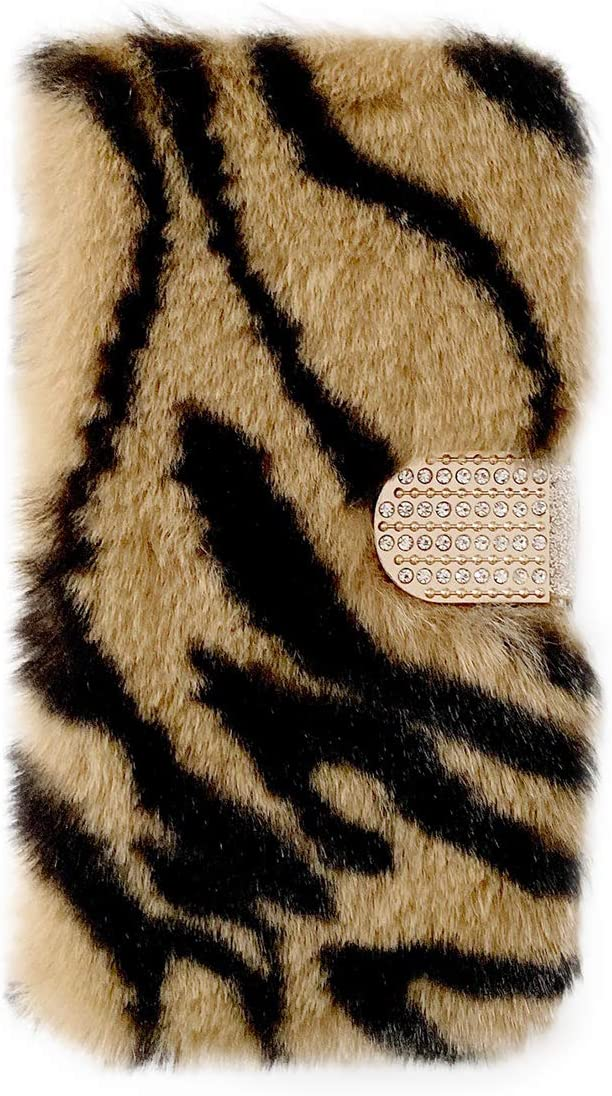 Compatible with iPhone 6Plus Furry Flip Wallet Case Zebra Brown, Case for iPhone 6S Plus Fluffy PU Leather Magnetic Wallet Case with Card Holder & Stand