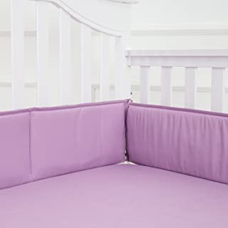 TILLYOU Baby Safe Crib Bumper Pads for Standard Cribs Machine Washable Padded Crib Liner Thick Padding for Nursery Bed 100% Silky Soft Microfiber Polyester Protector de Cuna, 4 Piece/Lilac