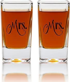 Mrs. & Mrs. Square Shot Glasses - Gay Couple Same Sex Shot Set - Engagement, Wedding, Anniversary, House Warming, Hostess Gift - 2.8 Ounce