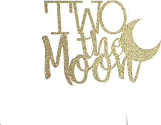 CMS Design Studio Handmade 2nd Birthday Cake Topper - Two The Moon with Moon - Double Sided Gold Glitter Stock